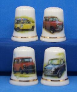 Birchcroft China Thimbles -- Set of Four Large Size -- Mini Cars ( SALE )