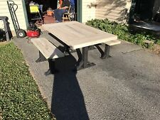 Double breadboarded Pallet Table with 2 matching benches