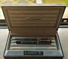 Parker Duofold International  MK I Marbled Blue Vintage Fountain Pen M 18K (NOS)
