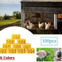 16MM 001-100 Numbered Plastic Poultry Chickens-Ducks Goose Leg Bands Ring