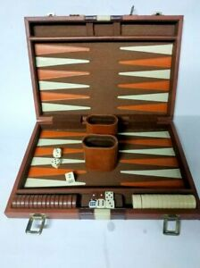 Old Vintage bag leather Game Board Backgammon Handmade dice box Full Set