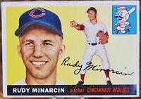 1955 Topps Baseball Card #174 Rudy Minarcin, Cincinnati Redlegs - VG