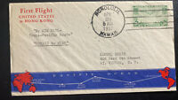 1937 Honolulu Hawaii Airmail First Flight Cover FFC To Guam island Trans Pacific
