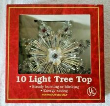10 Light Indoor Tree Topper Lighted Star Energy Saving Steady or Blinking Lights