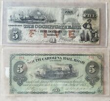 2 vintage American bills South Carolina Railroad $5 bill and $5 Cochituate Bank