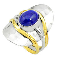 black friday sale 4.71cts lapis lazuli 14k gold solitaire ring size 7.5 p81083