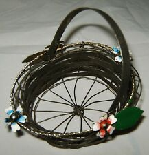Unique Small Vintage 1960's Metal Wire Basket w/ Handle & Applied Flowers