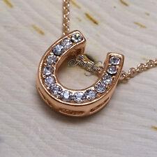"Rose-Gold CZ Crystal ""Luckiest"" Horseshoe Pendant 16″ Necklace"