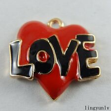 12 pcs Enamel Plated Love Heart Charms Necklace Pendant Findings Alloy Crafts