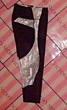 L Victoria's Secret Sport Tight Knockout Mesh Black White shimmer Large capri