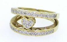 Heavy 14k yellow gold 0.36ct diamond heart cluster cocktail ring size 6.25