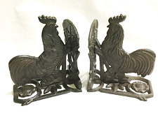 CAST IRON Rooster Bookends Rustic Brown Country Decor