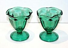 Set of 2 Two Vintage Anchor Hocking Teal Green Glass Sherbet Dishes