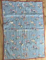 Vintage 1940s Raggedy Ann & Andy & Animals Baby Crib Quilt Blanket