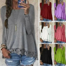 Womens Long Sleeve Flared Splice Ruffles Pullover Shirt Blouse Tops