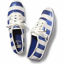 NEW ! NIB KEDS for KATE SPADE White/Blue Champion Sequin Stripe Shoes Size 7