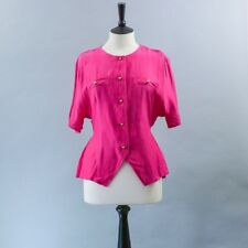 Vintage Retro San Andres Hot Pink Women's Blouse Shirt Top Small UK 8 10