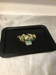Vintage Decorative Old Black Tin Metal Tray Floral Design Basket Of Flowers