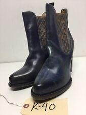 K40 NEW BedStu Insight Steel Blue Lux Leather Boot Women's Sz 9.5 M