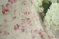 Vintage French pink faded floral c1900 cretonne pinks upholstery fabric cotton