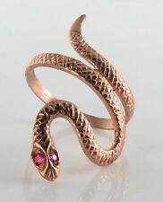 SUBLIME 9K 9CT ROSE GOLD COILED SNAKE RUBY EYES RING FREE RESIZE