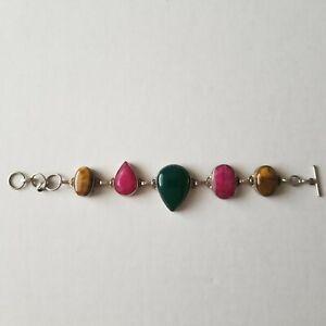Artisan Handmade Natural RED RUBY & TIGERS EYE Cabochon Silver Link Bracelet