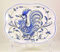 Anfora Agueda Portugal Rooster Trinket Dish Plate Blue White Vintage