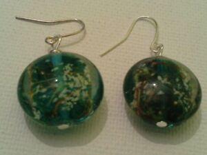 Teal Lampwork Earrings