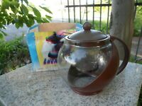 Vintage Lucky Pot Teapot Brown Plastic Clear Glass Premier Housewares 1.25 Litre