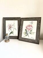 Watercolor paintings flowers original signed  set 2. Best gift .