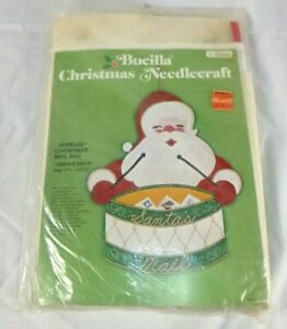Vtg Bucilla Jeweled Felt Christmas Mail Bag Kit Santas Drums #2352 COMPLETE