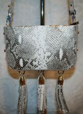 LUANA ITALY MEDEA MINI CROSSBODY TASSEL PEWTER SNAKE/STONE LEATHER