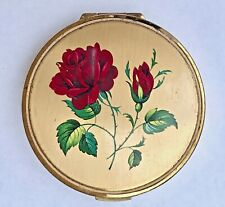 Stratton UK Convertible Powder Compact Red Roses 1950s Signed no puff Vintage