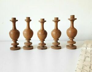 Vintage wood spindle Set of 5 Antique french salvaged Furniture Gallery Panel