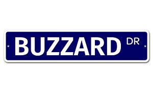 "5493 SS Buzzard 4"" x 18"" Novelty Street Sign Aluminum"