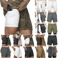 Men's 2 in 1 Sports Running Shorts Gym Training Fitness Bottoms With Pockets