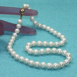 8-9mm single natural freshwater genuine white round cultured pearl necklace 18""