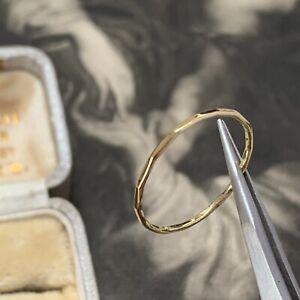 18ct Yellow Gold 1mm Wide ring, Handmade Slim Thin Narrow Hammered  Band UK N