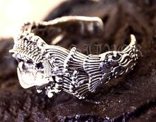 Bracelet Bangle Unisex Genuine Solid Sterling 925 Silver Dual Carp Fish Lucky S