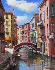 """SAM PARK """"Afternoon on the Canal"""" Waterfront 30x24 Hand Sign/#Embell Giclee PCOA"""