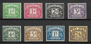 Sg D27 - D34 1937-38 George VI Full set of Postage Dues UNMOUNTED MINT/MNH