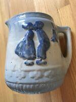Antique Brush McCoy Salt Glazed Stoneware Pottery Pitcher Dutch Kissing Couple