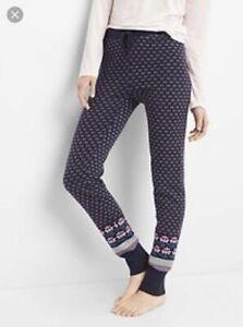 NEW  GAP GapBody Womens Fair Isle Leggings Sweater Knit Jogger Pants Black XS 2
