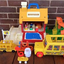 Vintage Fisher Price Little People School House Playground #2550 COMPLETE + Bus!