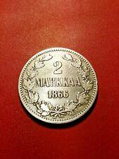 Finnland/Russland * 2 Kronen 1866 Silber * Alexander II * Cond. 1+ * seltene Mün...