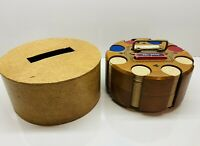 "Vintage Wooden Round Spinning 2 Deck Poker Chip Carousel With Cover 8"" Diameter"