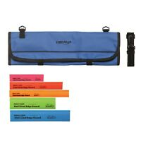 9 Pocket Chef Knife case roll bag (Blue) w/ 5 Piece multi-color edge guard Set