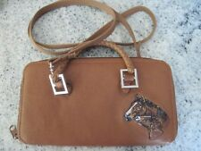 Women's brown leather bifold wallet, crossbody purse, stitched horse design