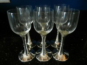 UNUSUAL SOLID SILVER STEMMED 6 WINE GLASSES/GOBLETS IN CASE - LONDON 1991 - VGC