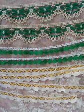 3 French Antique Lace Trim Bobbin 3+ yards Green White Yellow